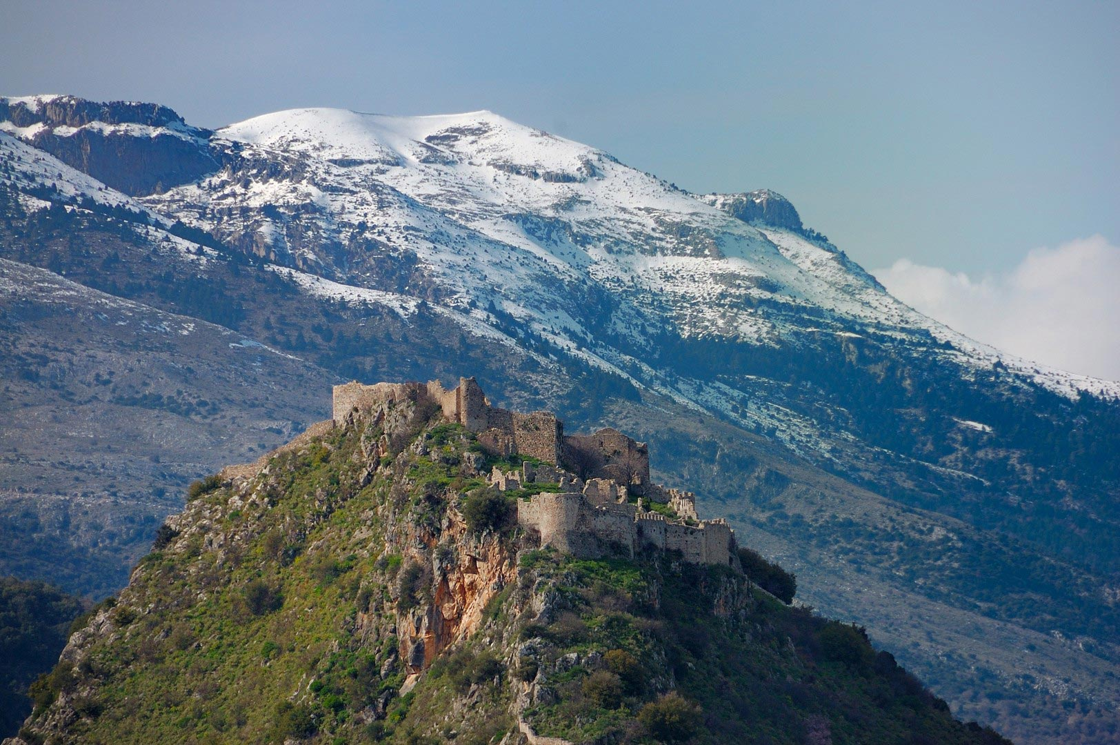 Mystras-Castle,-and-Taygetus-mountain-shutterstock_66975925