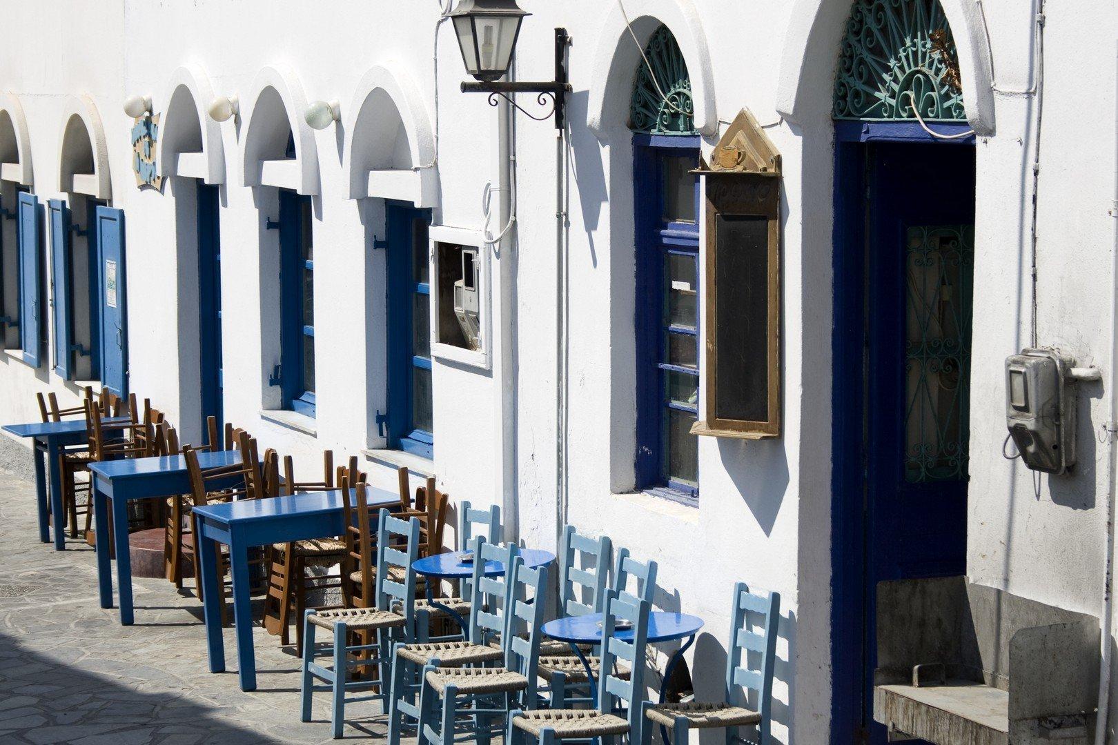 Empty greek caf - Astypalea Island - Greece