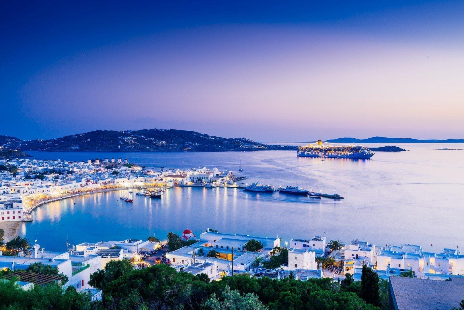 Beatiful twilight over Mykonos town, Mykonos island, Cyclades archipelago, Greece shutterstock_547490086