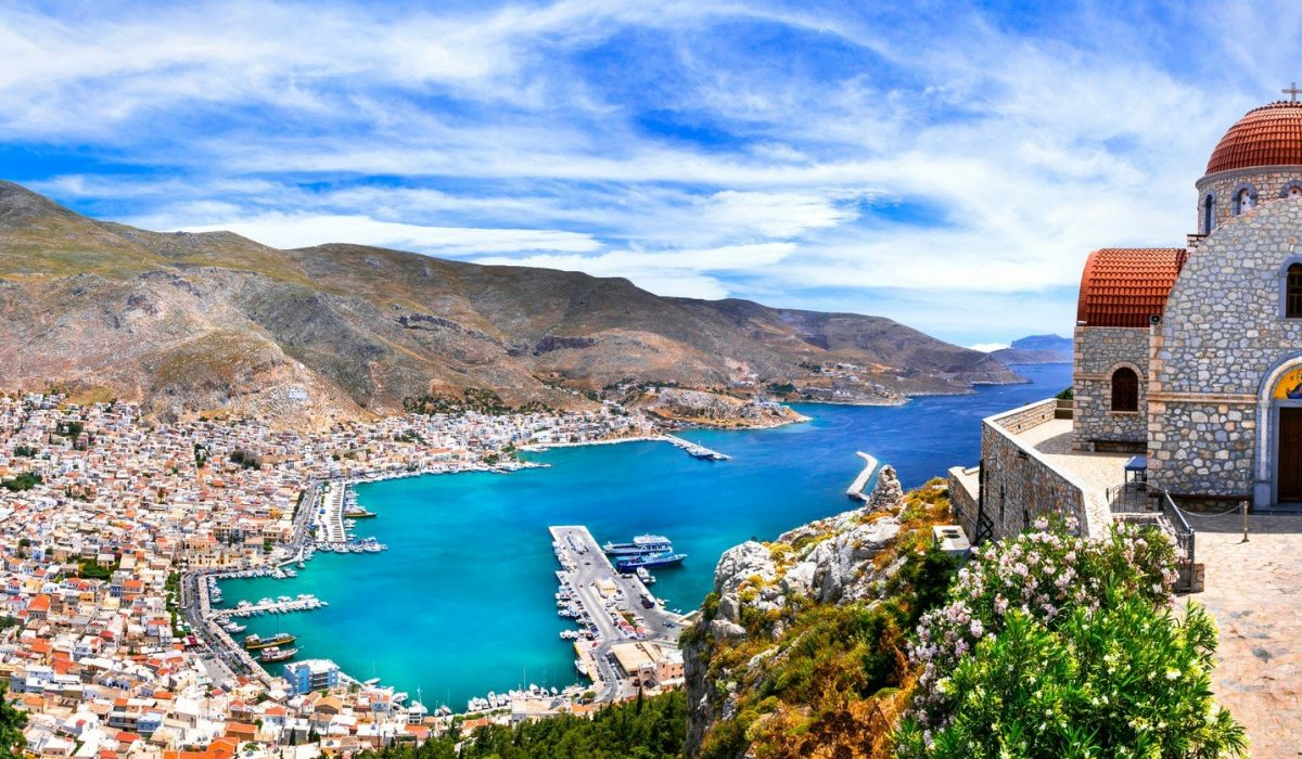 Amazing Greece series beautiful Kalymnos island, Dodecanese. view pf Pothia town and agios Savvas monastery shutterstock_1437363140