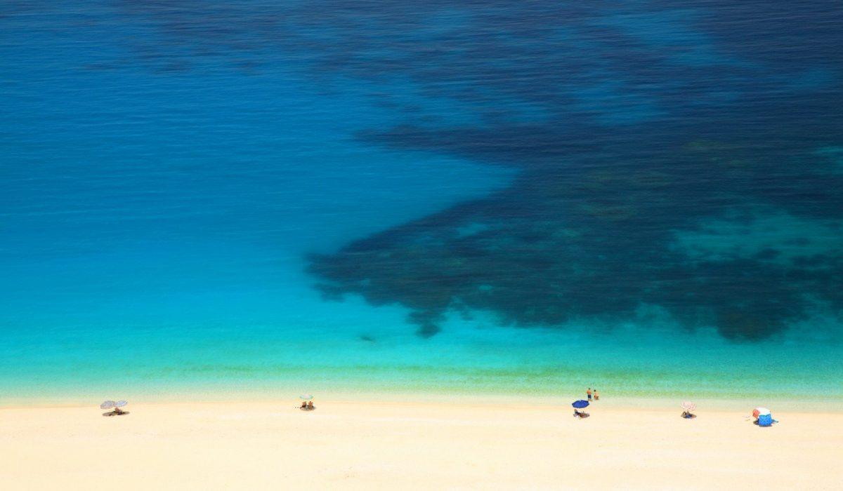 Turquoise sea, white sand Myrtos beach Kefalonia