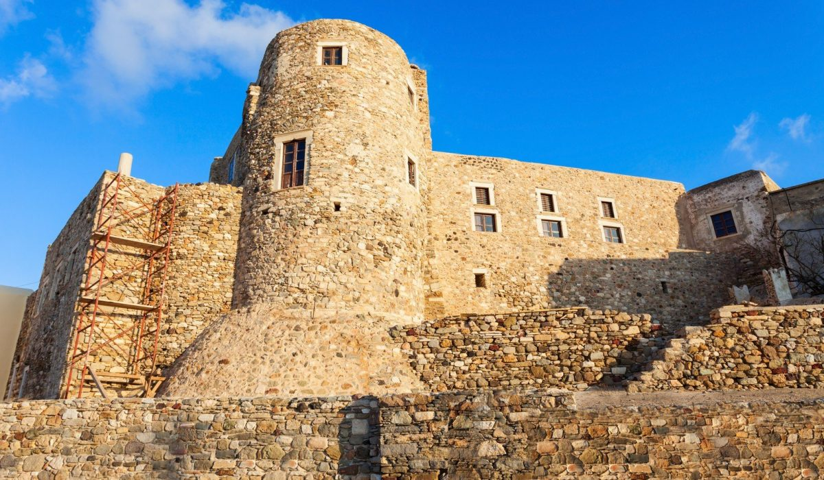Naxos Kastro old town tower walls, Naxos island in Greece shutterstock_605647775