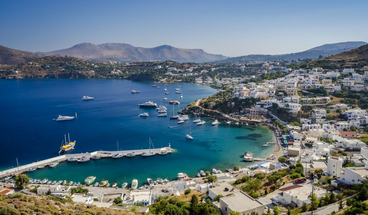Panteli bay and village view from above on Leros island Greece shutterstock_421705927