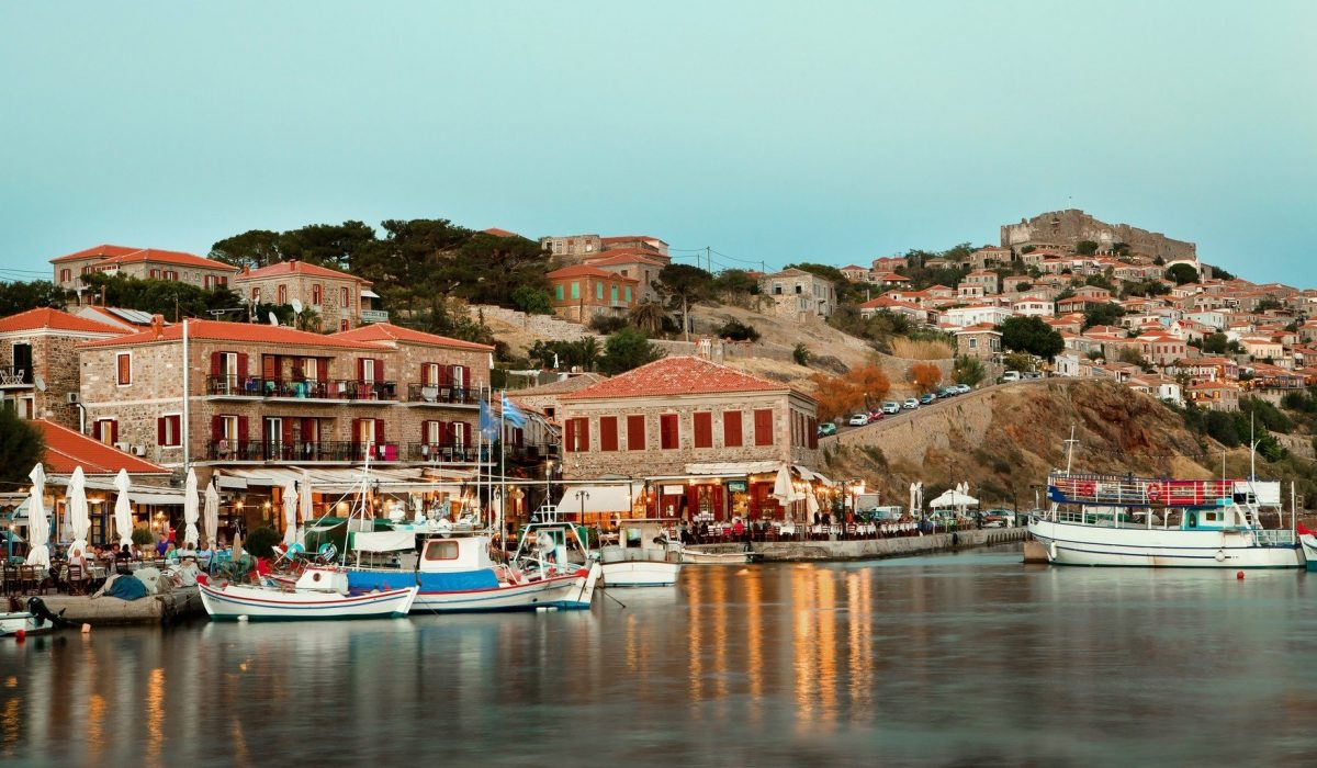 The little fishing port of Molyvos (or Mythimna), in Lesbos island, Aegean Sea, Greece, Europe shutterstock_506248630