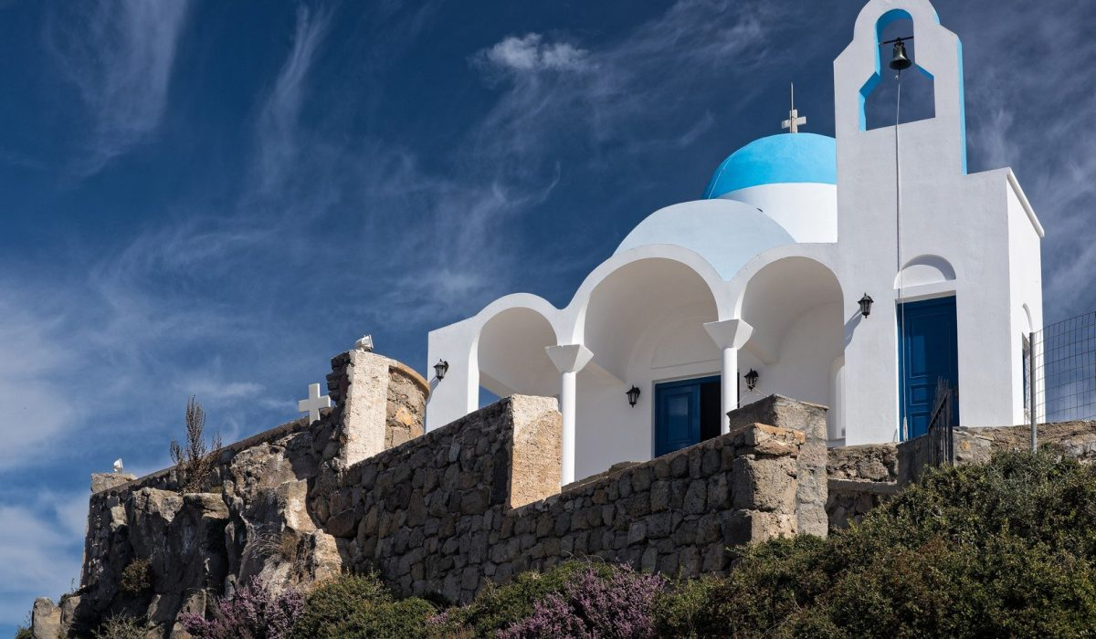 Traditional church on top of a hill in Nisyros island, Greece shutterstock_363190016