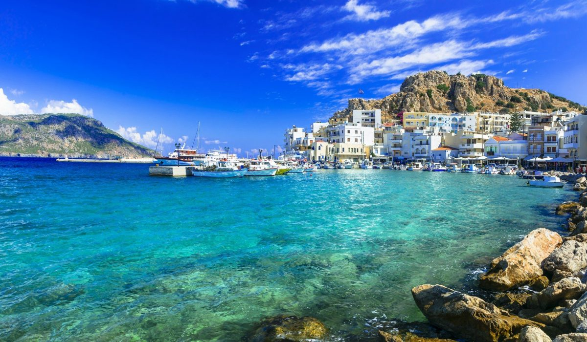 beautiful islands of Greece - Karpathos with pictorial capital Pigadia shutterstock_339954533