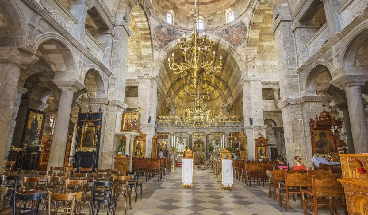 interior of Panagia Ekatontapyliani or Church of 100 Doors shutterstock_681314428